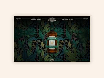 Becherovka Microsite nature alcohol branding becherovka menu scroll typography design illustration web 2020 websites website animation gold black green herbal herb drink alcohol