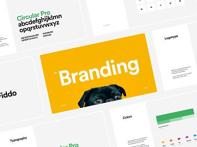 🐶 Fiddo |Dog App | Branding ux design casestudy presentation dog app mobile app mobile icons typography circular green yellow black white logotype logo branding ui uxui ux