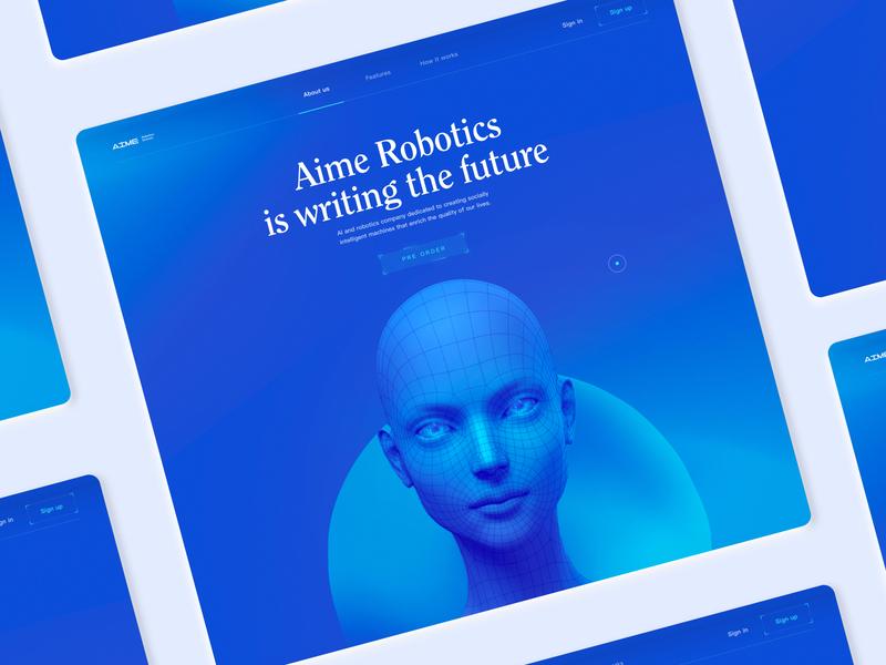 AI Robotics Concept head vektor morhing morph gradient organic web future white blue ai design 2020 trend websites website ux branding 2020 ui