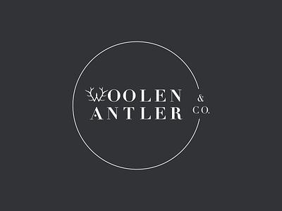 Woolen Antler & Co. Primary Logo graphic design antler w foraged handcrafted branding design logo