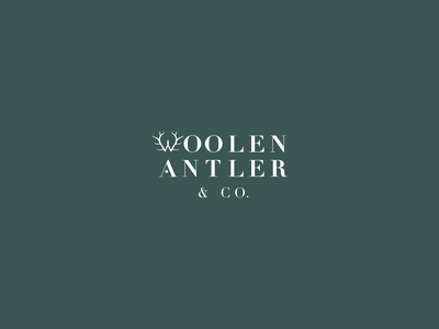 Woolen Antler & Co. Secondary Logo handcrafted w branding design antler foraged graphic design logo