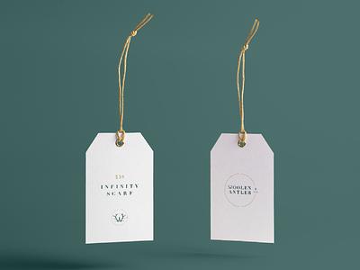 Woolen Antler & Co. Hangtag Design graphic design antler branding design w handcrafted hangtag