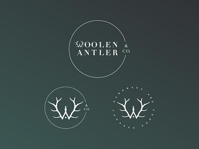 Woolen Antler & Co. Logo And Marks graphic design logo mark w branding design antler foraged handcrafted
