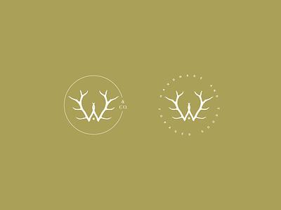 Woolen Antler & Co. Marks graphic design handcrafted foraged w branding design antler logo submark mark