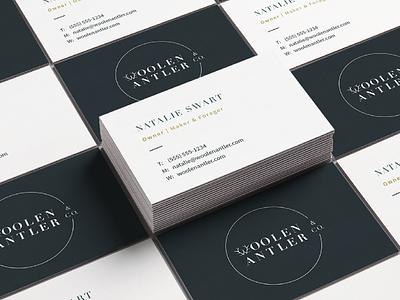 Woolen Antler & Co. Business Cards business card branding design foraged w handcrafted antler graphic design