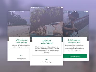 Walkthrough app savings finance banking android ios mobile intro onboarding walkthrough