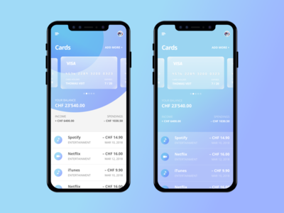 Banking App gradient iphone ios creditcard mobile app finance banking