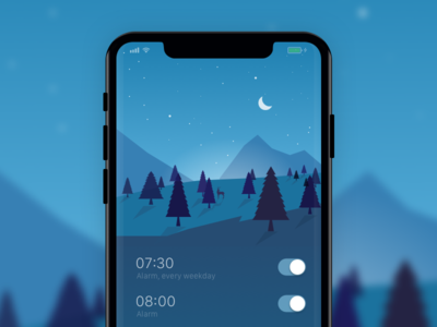Alarm App timer moon deer tree night landscape apple ios mobile design app alarm