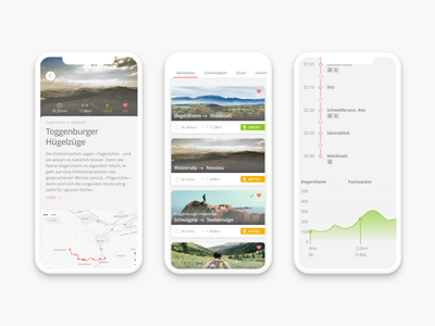 Hiking App swiss cards graph chart android ios app hiking