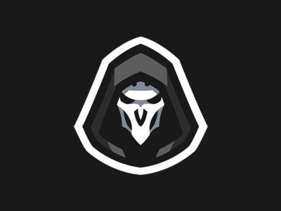 Overwatch Reaper Mascot Logo black white mascot logo illustration design mascot logo e-sports branding reaper mascot logo reaper mascot reaper overwatch overwatch reaper mascot logo