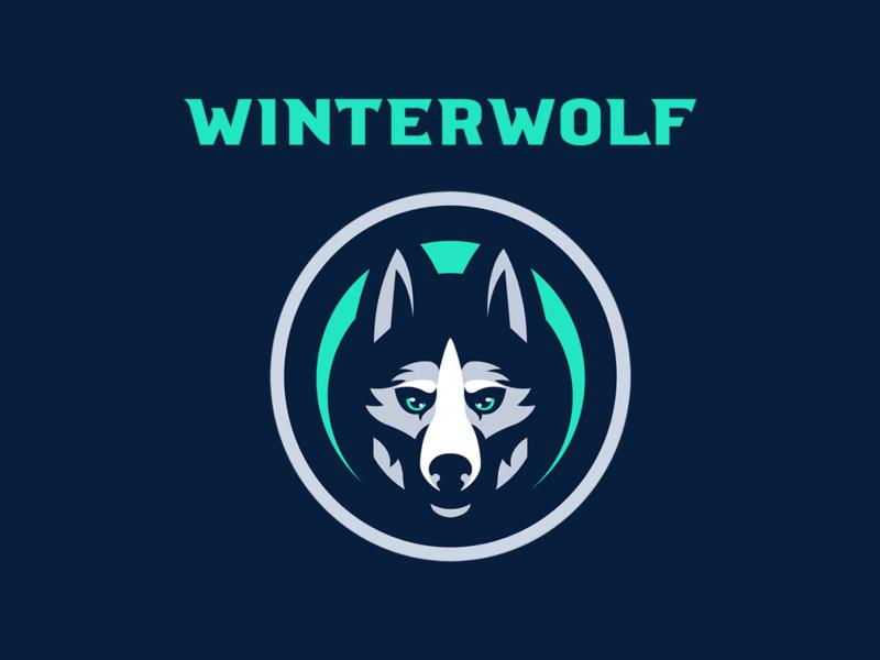 Winterwolf Mascot Logo husky blue white mascot logo illustration design mascot logo e-sports branding
