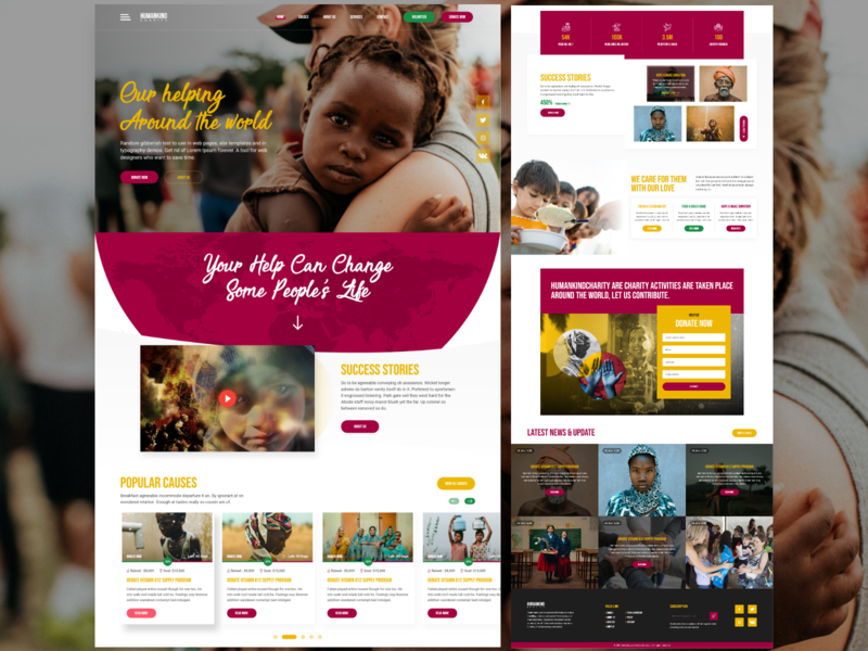 Humankind Charity non-profit free ui ux typography website template mobile website design website design charity organizations donate free resource landing page society non-benefit organizations nonprofit charity