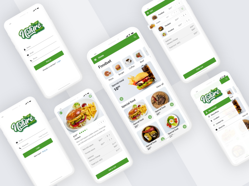 Nature food nature food typography 2020 ecommerce app ux trends application web ui interface restaurants recipes top minimal product iso mobile app desing app app