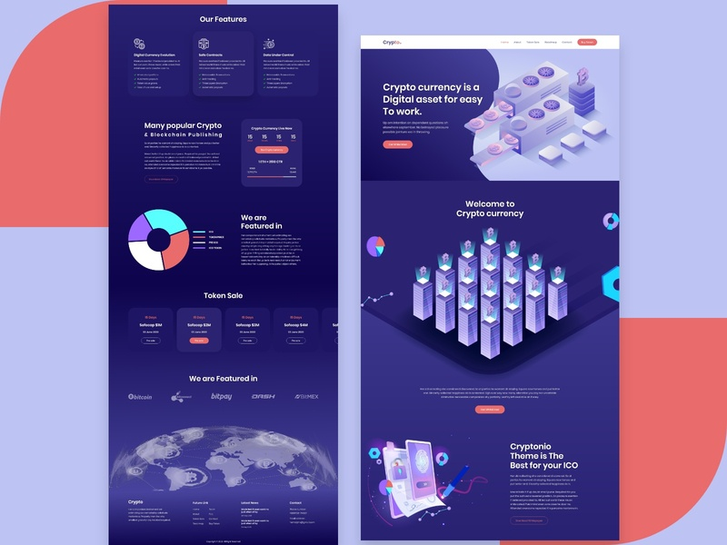 Crypto Currency landing page app web wallet ui payment landing page interface illustration graphics investment exchange finance design coin cuberto chart card currency crypto bitcoin