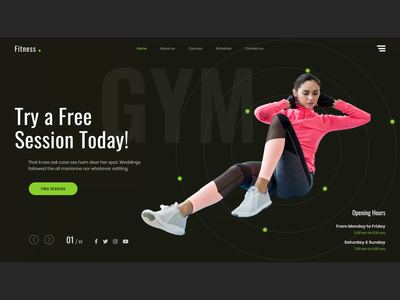 fitness & gym web-design typography product-design branding animation ux ui workout landing page creative dark sport yoga gym fitness
