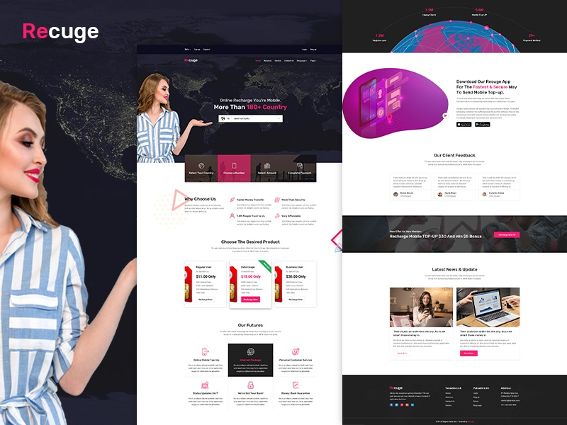 Recuge - Online Mobile Recharge PSD Template web psd design web deisgn ux psd topup recharge online recharge online mobile recharge online load online bill pay money transfer mobile topup mobile recharge mobile banking mobile dth recharge bill pay banking