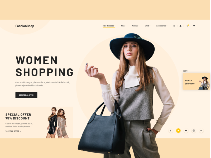 Fashion eCommerce Shop design shop website web ux ui typography photo interface influencer fashion adobexd adobe header product page minimal landing grid ecommence clean