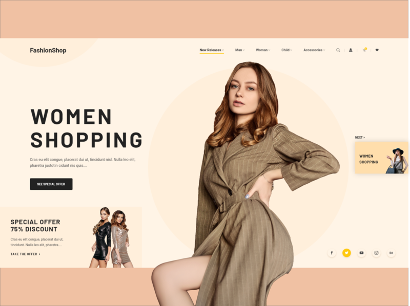Fashion eCommerce Shop creative website web ux ui typography shop product page minimal landing interface influencer header fashio grid fashion ecommence clean design adobe adobexd
