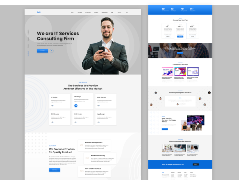 It service business consulting agency web deisgn website ux ui tax service homepage trendy design 2020 trendit project page business company corporate landing page consulting agency consulting