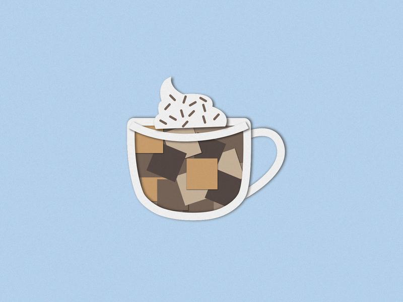 Hot Coco digital craft paper craft papercraft paper drinks drink pin sticker beverage food and drink food icon logo branding design illustrator vector illustration