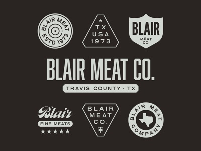 Blair Meat Co. chainsaw texas industrial vintage identity branding badge typography