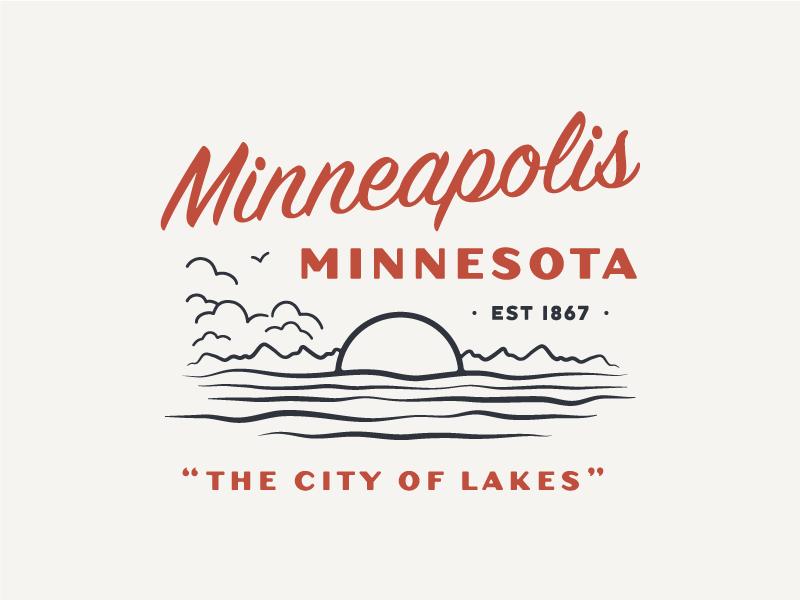 The City of Lakes minnesota minneapolis lake handdrawn vintage typography illustration