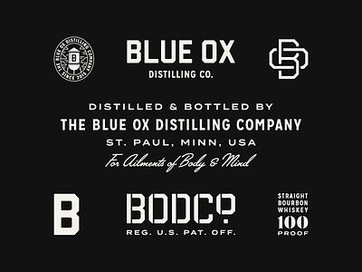 Blue Ox Distilling Co. whiskey monogram badge illustration typography branding