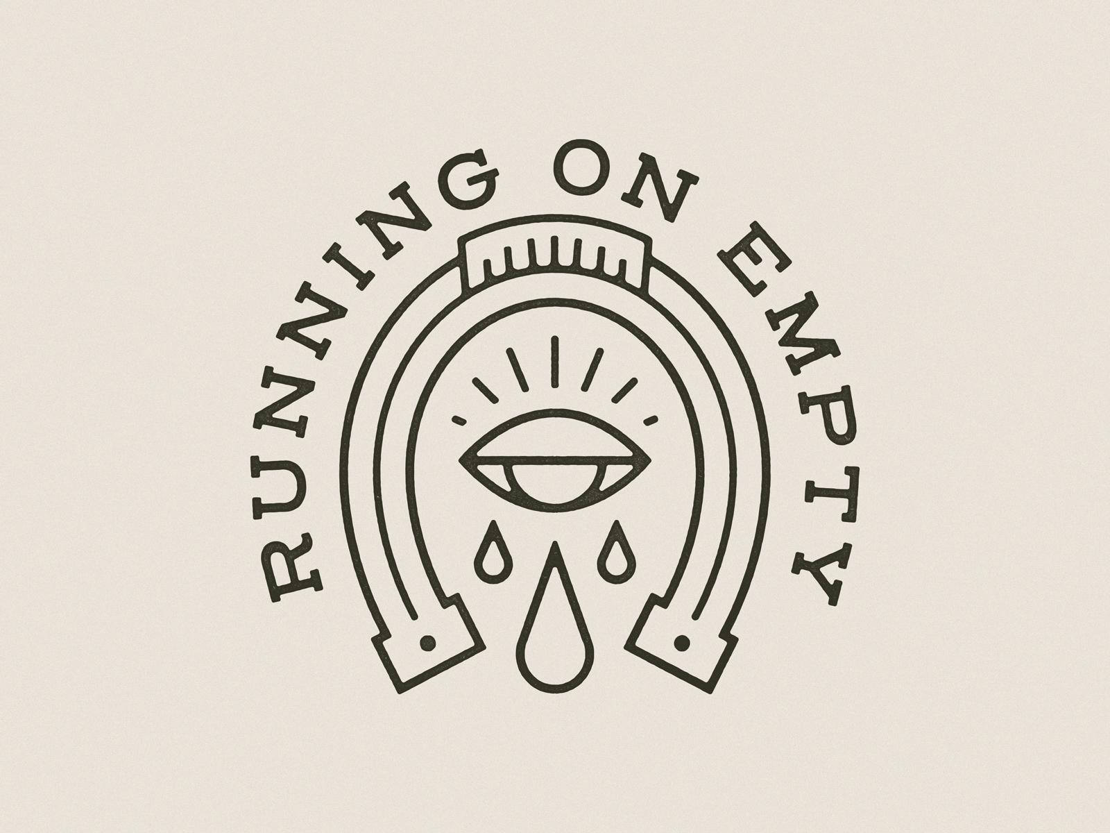 Running On Empty handdrawn vintage badge typography illustration