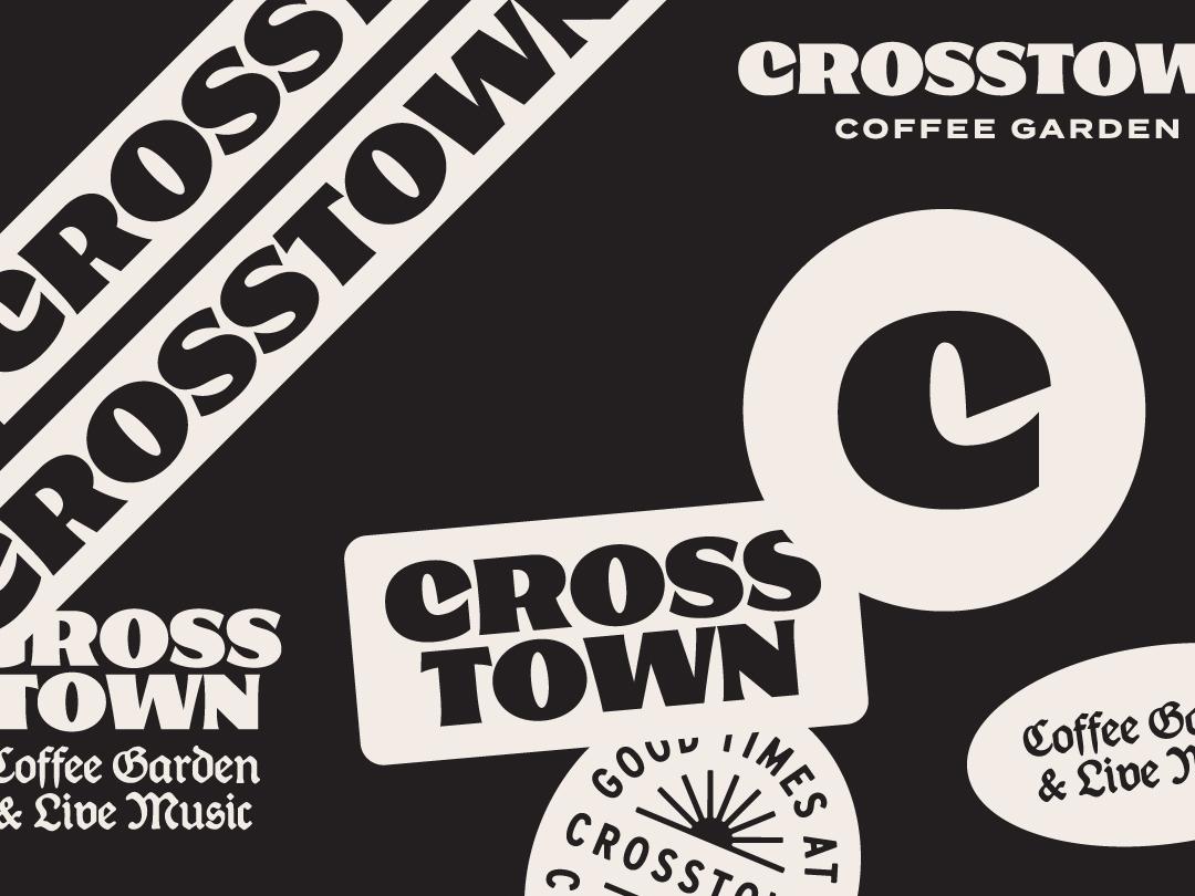 Crosstown Coffee Garden coffee logotype wordmark badge logo identity branding typography illustration