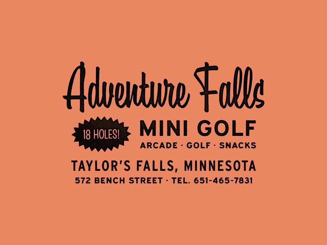 Adventure Falls mini golf vintage retro lockup logo identity branding typography