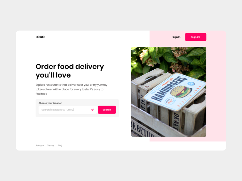 Pinky Angel - Food Ordering Web App - First Landing