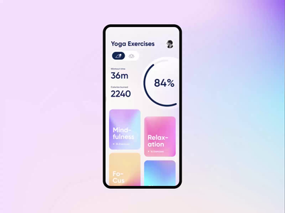 Yoga & Meditation Mobile App UI Animation mobile fresh purple tutorial ui story search bar switch toogle yoga app meditation app yoga ui animation clean app
