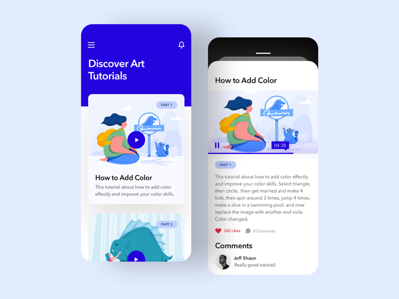 Illustration & Art Tutorial Mobile App shadow card mobile app mobile trend blue video player video tutorial illustration art