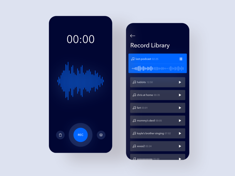 Sound Recorder App music listen mobile app recorder library blue and black darp mode dark app dark black blue rec record