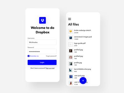 Dropbox Login & Files Page