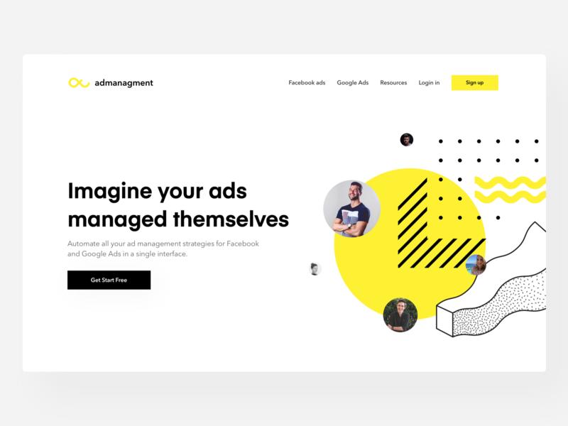 Ad Management Header Concept - Yellow Mind shadow webdesign web management ads yellow logo concept header yellow