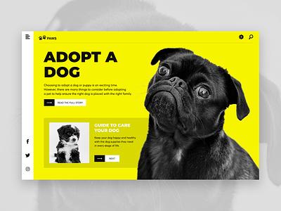 Adopt a Dog photoshop userexperiance artwork typography website banner design ui