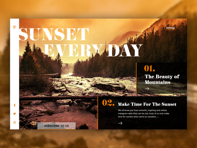 Sun Sets Every Day! landingpagedesign nature ux ui design practicing dailyui ui photoshop design