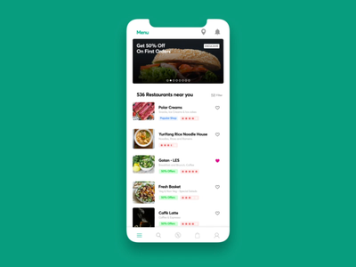 Food App Interactions interaction uxdesign uidesign uiux