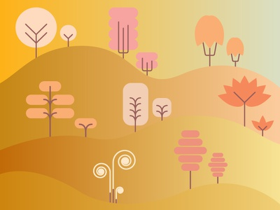 Happy Trees gradient trees illustration flat design flat icon design icon set