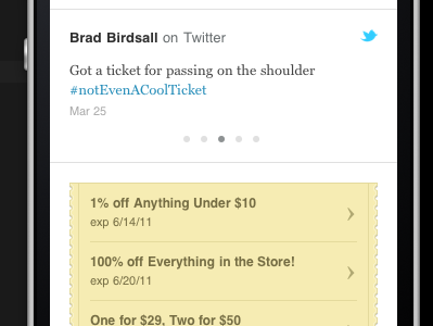 Twitter and Deals, yo ui twitter deals coupon specials yellow bird slider mobile mobile web