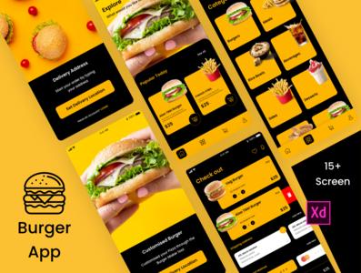 Burger App graphics design sketchapp illustrator design mobile app design ui design ux design photoshop design xd design fast-food food app burger app app