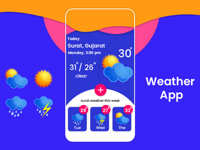 Weather App designs, themes, templates and downloadable graphic