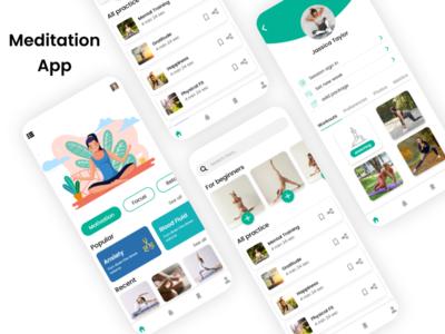 Meditation App graphics design sketchapp illustrator design mobile app design ui design ux design photoshop design xd design weight loss exercises yoga meditation app