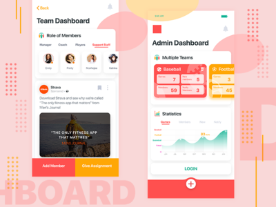 Team and Admin Dashboard UI