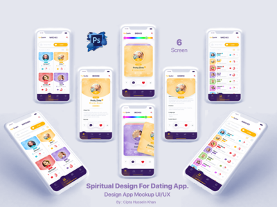 Spiritual Design For Dating App. colour palette dating website dating app beer app landing page ux homage feed app ui detail app onboarding category app illustration design app home screen app app design design uiux mobile design design