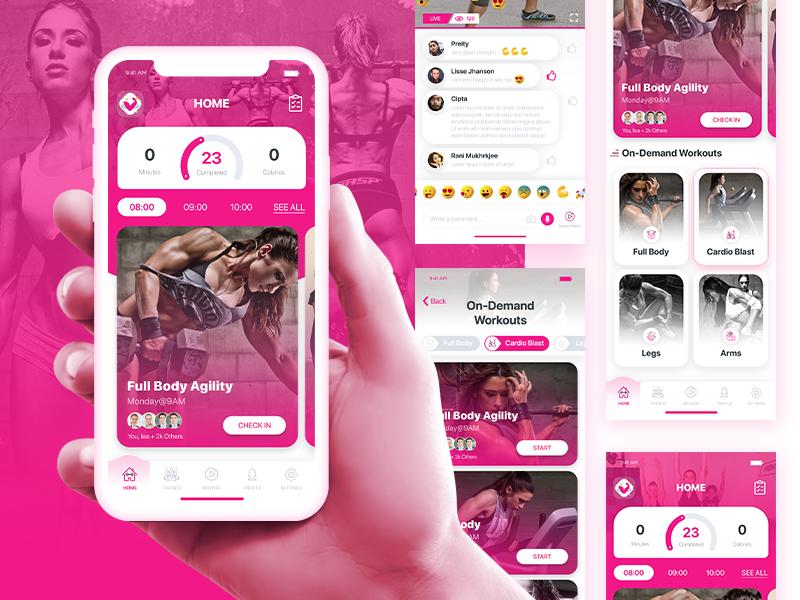 Fun new live & on-demand fitness app fitness app video app workouts dashboard ui home screen app design feed app ui design uiux category app onboarding mobile design design