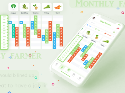 Farmer's Monthly Schedule Application category app vegetables selection schedule farmer feed app logo dashboard app onboarding app design design uiux mobile design