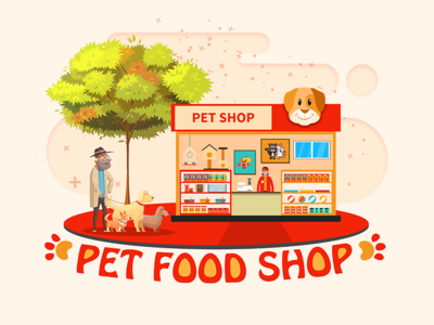 PET FOOD SHOP pet photoshop animal shop raising animals dog design graphic food
