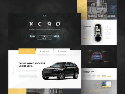 Volvo landing page concept ux ui interface yellow black car webdesign website page landing